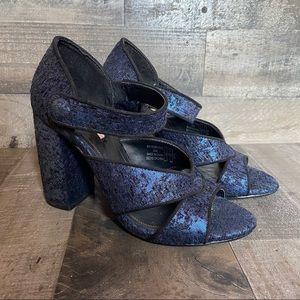 Zara Blue Black Textured Jacquard Block Heels